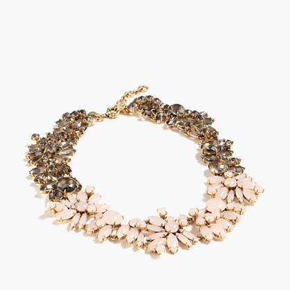 Two Tone Floral Necklace - secondary colour: ivory/cream; predominant colour: gold; occasions: evening, occasion; style: choker/collar/torque; length: mid; size: standard; finish: metallic; material: faux leather; embellishment: jewels/stone; season: a/w 2016; wardrobe: event