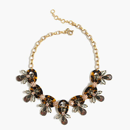 Tortoise And Firefly Necklace - predominant colour: gold; secondary colour: mid grey; occasions: evening, occasion; length: mid; size: large/oversized; material: chain/metal; finish: metallic; embellishment: jewels/stone; style: bead; season: a/w 2016; wardrobe: event