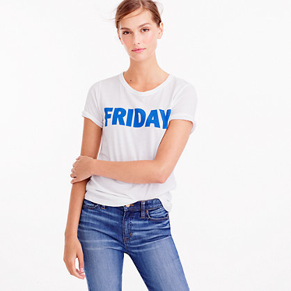 Friday T Shirt - style: t-shirt; predominant colour: white; secondary colour: royal blue; occasions: casual; length: standard; fibres: cotton - 100%; fit: body skimming; neckline: crew; sleeve length: short sleeve; sleeve style: standard; pattern type: fabric; texture group: jersey - stretchy/drapey; pattern: graphic/slogan; multicoloured: multicoloured; season: a/w 2016; wardrobe: highlight