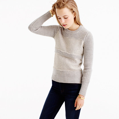 Collection Lace Stripe Crewneck Sweater - neckline: round neck; pattern: horizontal stripes; style: standard; predominant colour: light grey; occasions: casual, creative work; length: standard; fibres: wool - 100%; fit: slim fit; sleeve length: long sleeve; sleeve style: standard; texture group: knits/crochet; pattern type: knitted - fine stitch; pattern size: light/subtle; embellishment: lace; season: a/w 2016; wardrobe: highlight