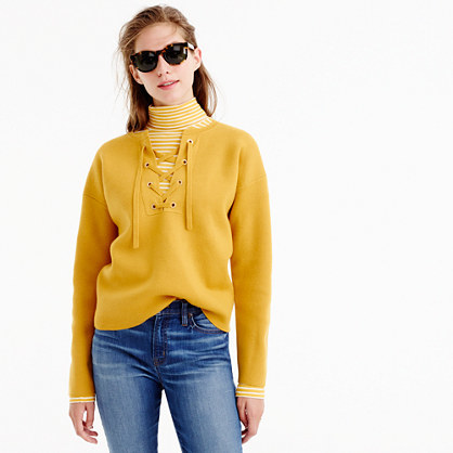 Collection Bonded Lace Up Sweater - neckline: round neck; pattern: plain; style: standard; predominant colour: mustard; occasions: casual; length: standard; fibres: wool - 100%; fit: standard fit; sleeve length: long sleeve; sleeve style: standard; texture group: knits/crochet; pattern type: knitted - fine stitch; pattern size: standard; season: a/w 2016; wardrobe: highlight