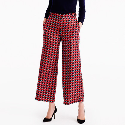 Collection Pleated Wide Leg Pant In Ratti® Geometric Tile Print - waist: mid/regular rise; predominant colour: true red; secondary colour: black; occasions: evening, creative work; length: ankle length; fibres: silk - 100%; fit: wide leg; pattern type: fabric; pattern: patterned/print; texture group: woven light midweight; style: standard; multicoloured: multicoloured; season: a/w 2016; wardrobe: highlight