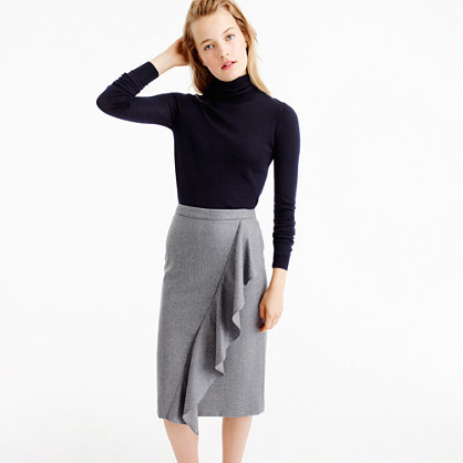 Collection Skirt In Italian Wool Flannel - length: below the knee; pattern: plain; style: pencil; fit: body skimming; waist: mid/regular rise; predominant colour: light grey; occasions: casual, creative work; fibres: wool - 100%; texture group: knits/crochet; hip detail: ruffles/tiers/tie detail at hip; pattern type: fabric; wardrobe: basic; season: a/w 2016