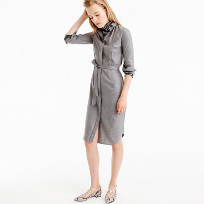 Collection Shirtdress In Italian Cashmere - style: shirt; neckline: shirt collar/peter pan/zip with opening; fit: tailored/fitted; pattern: plain; waist detail: belted waist/tie at waist/drawstring; predominant colour: mid grey; occasions: work; length: on the knee; fibres: cashmere - 100%; sleeve length: long sleeve; sleeve style: standard; texture group: knits/crochet; pattern type: fabric; wardrobe: investment; season: a/w 2016
