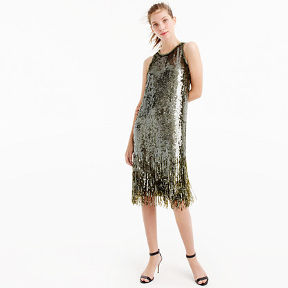 Collection Sequin Fringe Dress - style: shift; length: below the knee; pattern: plain; sleeve style: sleeveless; predominant colour: gold; occasions: evening; fit: body skimming; fibres: silk - 100%; neckline: crew; sleeve length: sleeveless; pattern type: fabric; texture group: other - light to midweight; embellishment: sequins; season: a/w 2016; wardrobe: event