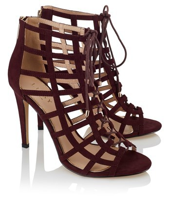 Caged Heeled Sandals - predominant colour: burgundy; occasions: evening; material: suede; heel height: high; ankle detail: ankle tie; heel: stiletto; toe: open toe/peeptoe; style: strappy; finish: plain; pattern: plain; season: a/w 2016; wardrobe: event