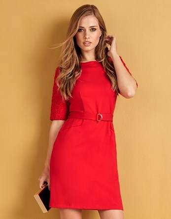 Ponte Lace Sleeve Belt Dress - style: shift; pattern: plain; waist detail: belted waist/tie at waist/drawstring; predominant colour: coral; occasions: casual; length: just above the knee; fit: body skimming; fibres: viscose/rayon - stretch; neckline: crew; sleeve length: short sleeve; sleeve style: standard; pattern type: fabric; texture group: jersey - stretchy/drapey; multicoloured: multicoloured; season: a/w 2016; wardrobe: highlight