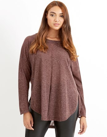 Long Sleeve Knit Pullover - neckline: round neck; length: below the bottom; style: standard; predominant colour: burgundy; occasions: casual; fibres: polyester/polyamide - mix; fit: standard fit; sleeve length: long sleeve; sleeve style: standard; pattern type: fabric; pattern size: light/subtle; texture group: jersey - stretchy/drapey; pattern: marl; season: a/w 2016; wardrobe: highlight
