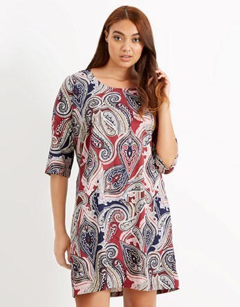 Shift Dress - style: shift; neckline: round neck; pattern: paisley; secondary colour: mid grey; occasions: casual; length: just above the knee; fit: straight cut; fibres: polyester/polyamide - 100%; sleeve length: 3/4 length; sleeve style: standard; pattern type: fabric; pattern size: big & busy; texture group: jersey - stretchy/drapey; predominant colour: dusky pink; multicoloured: multicoloured; season: a/w 2016; wardrobe: highlight