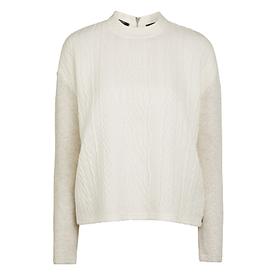 Cable Knit Jumper - pattern: plain; neckline: high neck; style: standard; predominant colour: ivory/cream; occasions: casual; length: standard; fibres: cotton - 100%; fit: standard fit; sleeve length: long sleeve; sleeve style: standard; texture group: knits/crochet; pattern type: knitted - other; wardrobe: basic; season: a/w 2016; trends: chunky knits