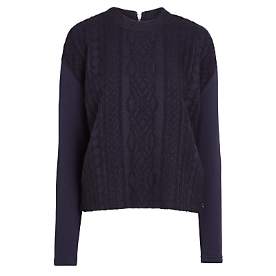 Cable Knit Jumper - neckline: high neck; style: standard; pattern: cable knit; predominant colour: navy; occasions: casual, creative work; length: standard; fibres: cotton - 100%; fit: standard fit; sleeve length: long sleeve; sleeve style: standard; texture group: knits/crochet; pattern type: knitted - other; pattern size: standard; season: a/w 2016; wardrobe: highlight; trends: chunky knits