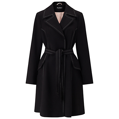 Contrast Stitch Coat, Black - pattern: plain; style: single breasted; fit: slim fit; collar: standard lapel/rever collar; length: mid thigh; predominant colour: black; occasions: casual; fibres: polyester/polyamide - stretch; waist detail: belted waist/tie at waist/drawstring; sleeve length: long sleeve; sleeve style: standard; collar break: medium; pattern type: fabric; texture group: woven bulky/heavy; wardrobe: basic; season: a/w 2016