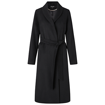 Longline Robe Coat - pattern: plain; style: wrap around; collar: standard lapel/rever collar; predominant colour: black; occasions: work, creative work; fit: tailored/fitted; fibres: acrylic - mix; length: below the knee; waist detail: belted waist/tie at waist/drawstring; sleeve length: long sleeve; sleeve style: standard; collar break: medium; pattern type: fabric; texture group: woven bulky/heavy; wardrobe: investment; season: a/w 2016