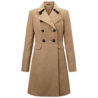 Double Breasted Coat, Camel - pattern: plain; length: below the bottom; collar: wide lapels; style: princess; predominant colour: camel; occasions: work; fit: tailored/fitted; fibres: polyester/polyamide - stretch; sleeve length: long sleeve; sleeve style: standard; collar break: medium; pattern type: fabric; texture group: woven bulky/heavy; wardrobe: investment; season: a/w 2016