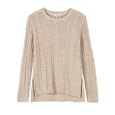 Rede Cable Jumper - style: standard; pattern: cable knit; predominant colour: stone; occasions: casual; length: standard; fibres: cotton - 100%; fit: slim fit; neckline: crew; sleeve length: long sleeve; sleeve style: standard; texture group: knits/crochet; pattern type: knitted - other; season: a/w 2016; wardrobe: highlight; trends: chunky knits