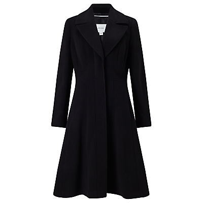 Fit And Flare Coat, Black - pattern: plain; style: single breasted; length: on the knee; collar: standard lapel/rever collar; predominant colour: black; occasions: casual, work; fit: tailored/fitted; fibres: wool - mix; sleeve length: long sleeve; sleeve style: standard; collar break: medium; pattern type: fabric; texture group: woven bulky/heavy; wardrobe: basic; season: a/w 2016