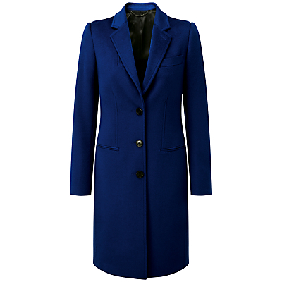 Melanie Wool Coat, Sapphire - pattern: plain; style: single breasted; collar: standard lapel/rever collar; length: mid thigh; predominant colour: royal blue; occasions: casual, creative work; fit: tailored/fitted; fibres: wool - 100%; sleeve length: long sleeve; sleeve style: standard; collar break: medium; pattern type: fabric; texture group: woven bulky/heavy; season: a/w 2016; wardrobe: highlight