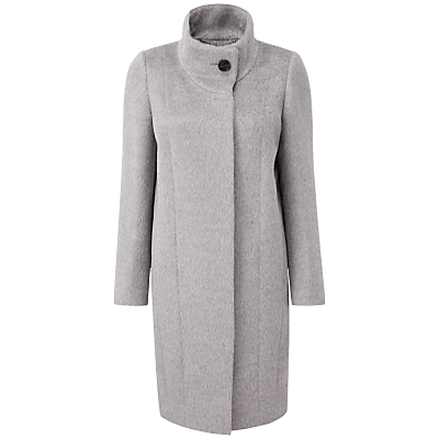 Elliana Luxury Alpaca Blend Coat, Heather Silver - pattern: plain; collar: funnel; style: single breasted; length: mid thigh; predominant colour: light grey; occasions: casual, creative work; fit: tailored/fitted; fibres: wool - mix; sleeve length: long sleeve; sleeve style: standard; collar break: high; pattern type: fabric; texture group: woven bulky/heavy; wardrobe: basic; season: a/w 2016