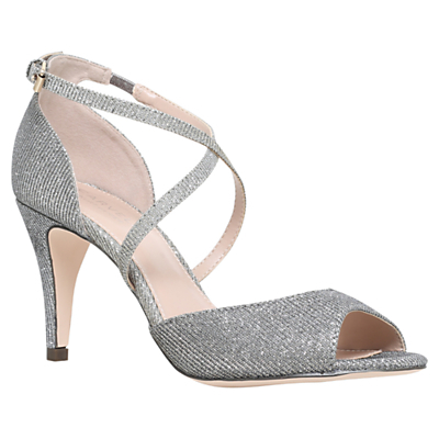 Kimi Cross Strap Sandals - predominant colour: silver; occasions: evening, occasion; material: fabric; heel height: high; embellishment: glitter; ankle detail: ankle strap; heel: stiletto; toe: open toe/peeptoe; style: strappy; finish: metallic; pattern: plain; season: a/w 2016; wardrobe: event