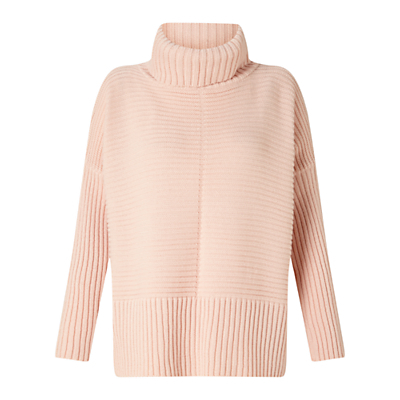 Chunky Knitted Jumper - sleeve style: dolman/batwing; pattern: plain; neckline: roll neck; style: standard; predominant colour: blush; occasions: casual, creative work; length: standard; fibres: acrylic - 100%; fit: loose; sleeve length: long sleeve; texture group: knits/crochet; pattern type: knitted - other; wardrobe: basic; season: a/w 2016; trends: chunky knits