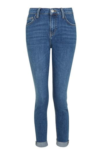 Moto Mid Blue Lucas Boyfriend Jeans - style: boyfriend; length: standard; pattern: plain; pocket detail: traditional 5 pocket; waist: mid/regular rise; predominant colour: navy; occasions: casual; fibres: cotton - stretch; jeans detail: whiskering; texture group: denim; pattern type: fabric; wardrobe: basic; season: a/w 2016