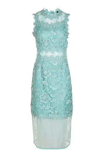 Tall Beautiful Lace Bodycon Dress - style: shift; fit: tailored/fitted; sleeve style: sleeveless; predominant colour: pale blue; occasions: evening, occasion; length: on the knee; fibres: polyester/polyamide - 100%; neckline: crew; sleeve length: sleeveless; texture group: lace; pattern type: fabric; pattern: patterned/print; trends: glossy girl, pretty girl; season: a/w 2016; wardrobe: event