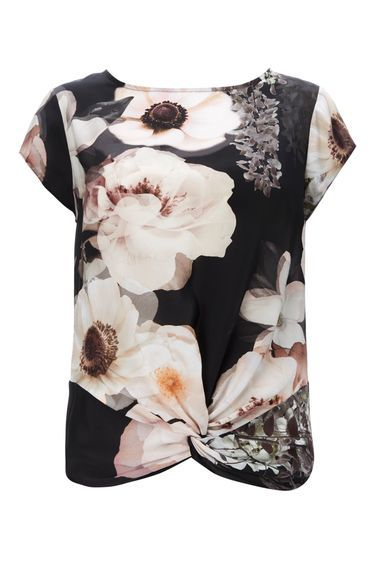Monochrome Floral Twist Front Top - secondary colour: ivory/cream; predominant colour: black; occasions: casual; length: standard; style: top; fibres: polyester/polyamide - 100%; fit: body skimming; neckline: crew; sleeve length: short sleeve; sleeve style: standard; pattern type: fabric; pattern: florals; texture group: jersey - stretchy/drapey; pattern size: big & busy (top); multicoloured: multicoloured; season: a/w 2016