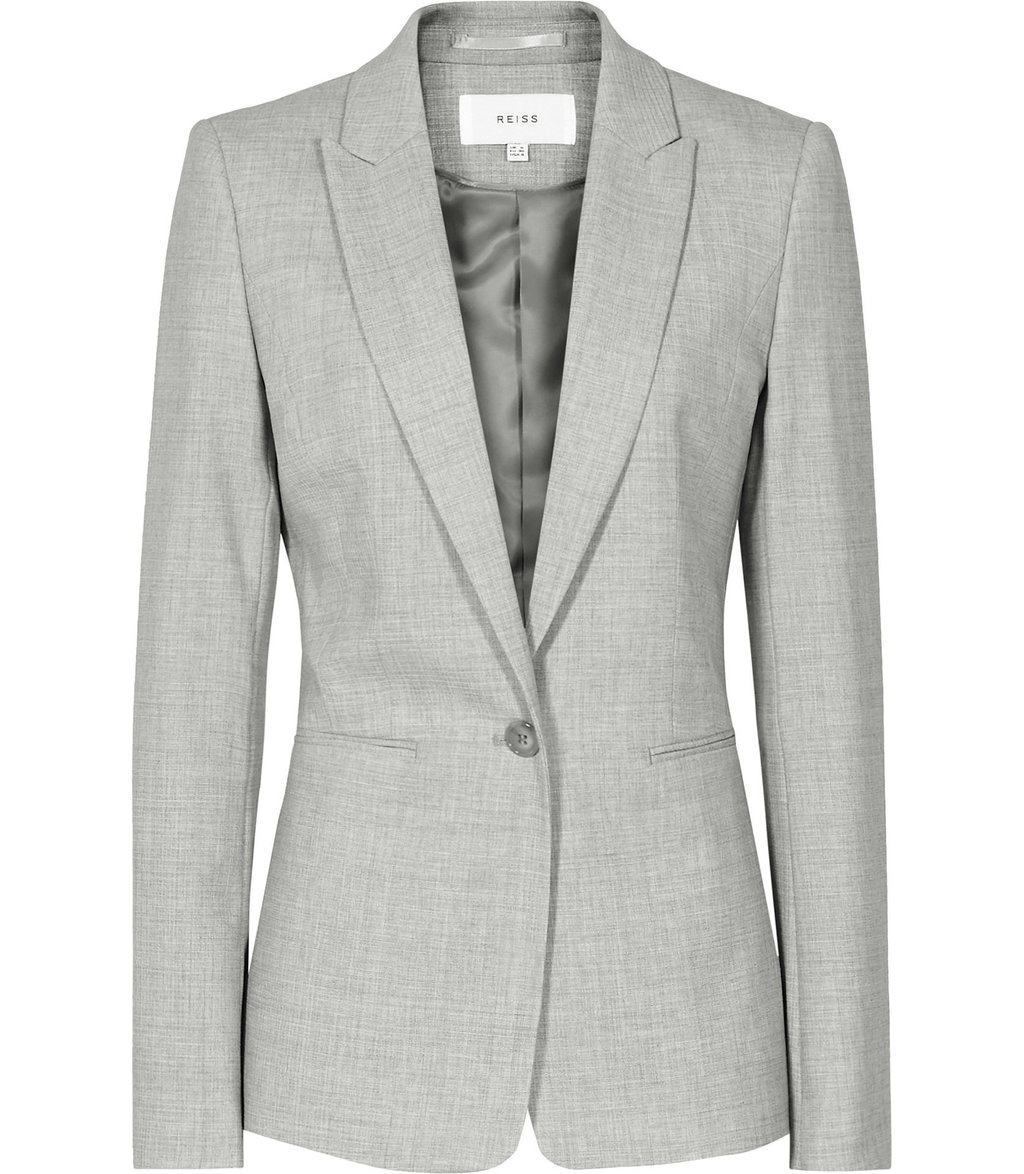 Aleggra Jacket Womens Single Breasted Blazer In Grey - pattern: plain; style: single breasted blazer; collar: standard lapel/rever collar; predominant colour: light grey; occasions: work; length: standard; fit: tailored/fitted; fibres: wool - stretch; sleeve length: long sleeve; sleeve style: standard; collar break: medium; pattern type: fabric; texture group: woven light midweight; wardrobe: investment; season: a/w 2016