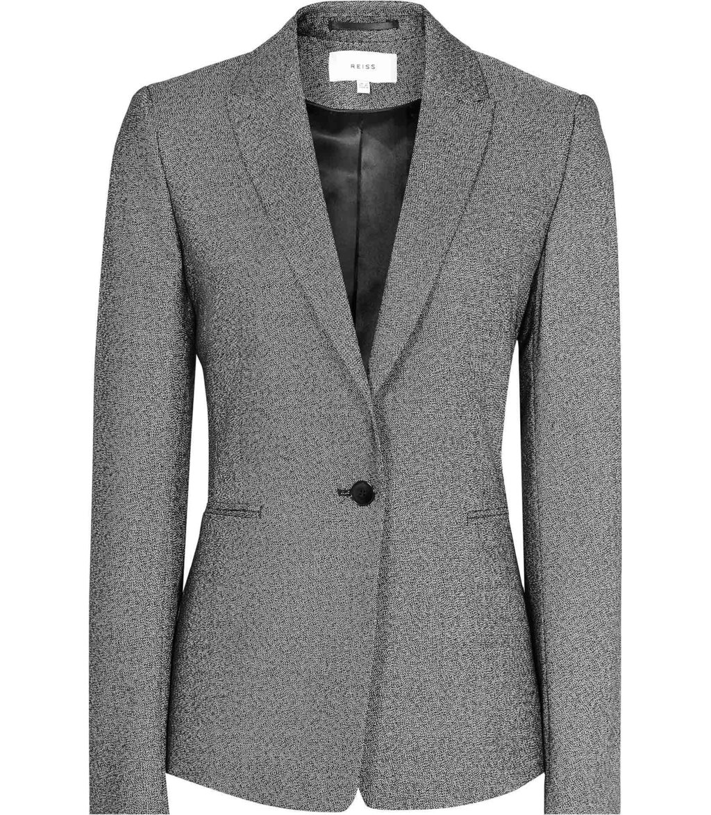 Gabrielle Jacket Womens Single Breasted Blazer In Black - pattern: plain; style: single breasted blazer; collar: standard lapel/rever collar; predominant colour: charcoal; occasions: work; length: standard; fit: tailored/fitted; fibres: cotton - stretch; sleeve length: long sleeve; sleeve style: standard; collar break: medium; pattern type: fabric; texture group: woven light midweight; wardrobe: investment; season: a/w 2016