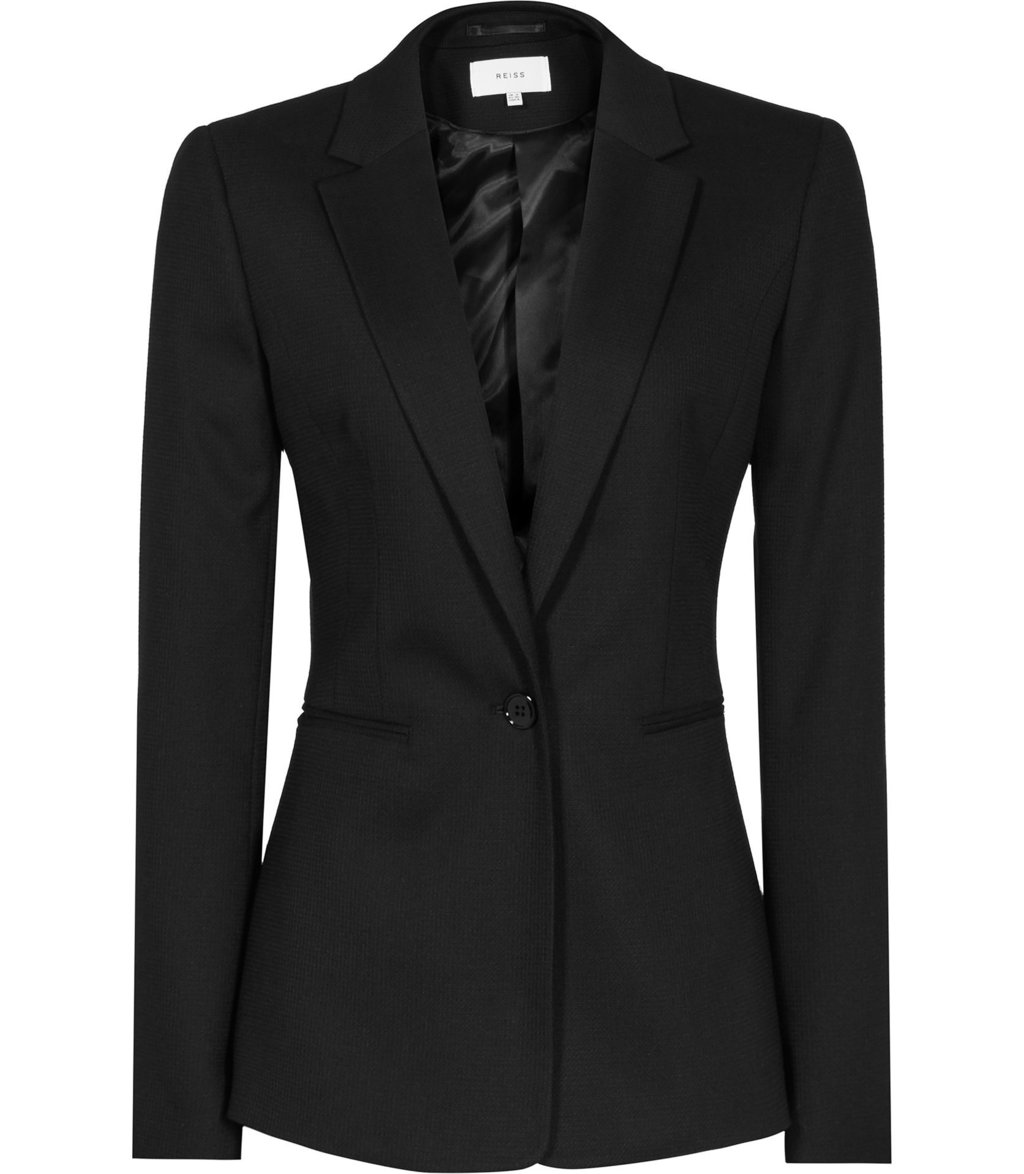 Dartmouth Jacket Womens Textured Single Breasted Blazer In Black - pattern: plain; style: single breasted blazer; collar: standard lapel/rever collar; predominant colour: black; occasions: work; length: standard; fit: tailored/fitted; fibres: wool - stretch; sleeve length: long sleeve; sleeve style: standard; collar break: medium; pattern type: fabric; texture group: woven light midweight; wardrobe: investment; season: a/w 2016