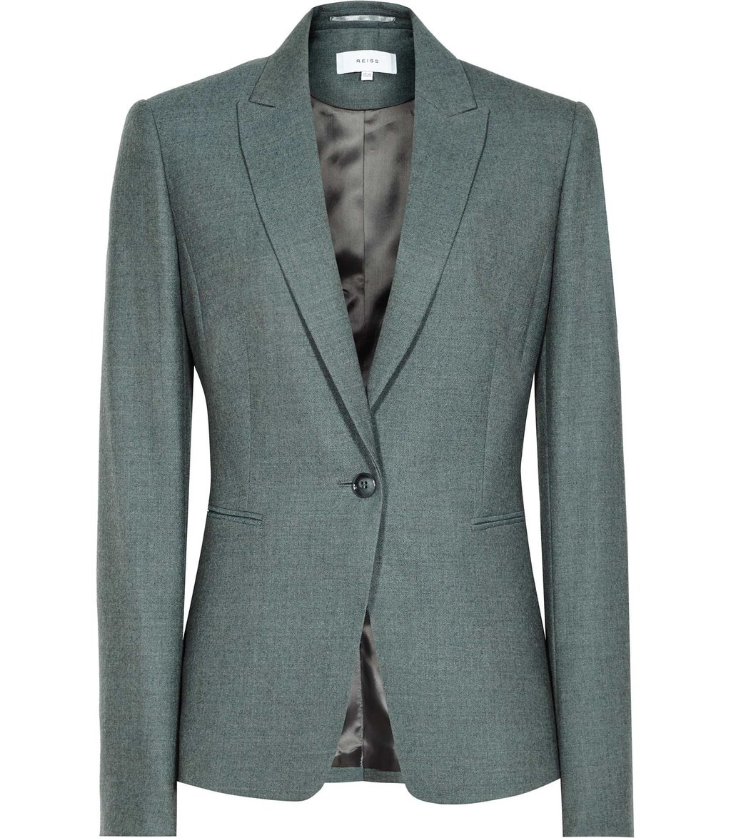 Murphy Jacket Womens Flannel Blazer In Green - pattern: plain; style: single breasted blazer; collar: standard lapel/rever collar; predominant colour: mid grey; occasions: work; length: standard; fit: tailored/fitted; fibres: wool - mix; sleeve length: long sleeve; sleeve style: standard; collar break: medium; pattern type: fabric; texture group: woven light midweight; wardrobe: investment; season: a/w 2016