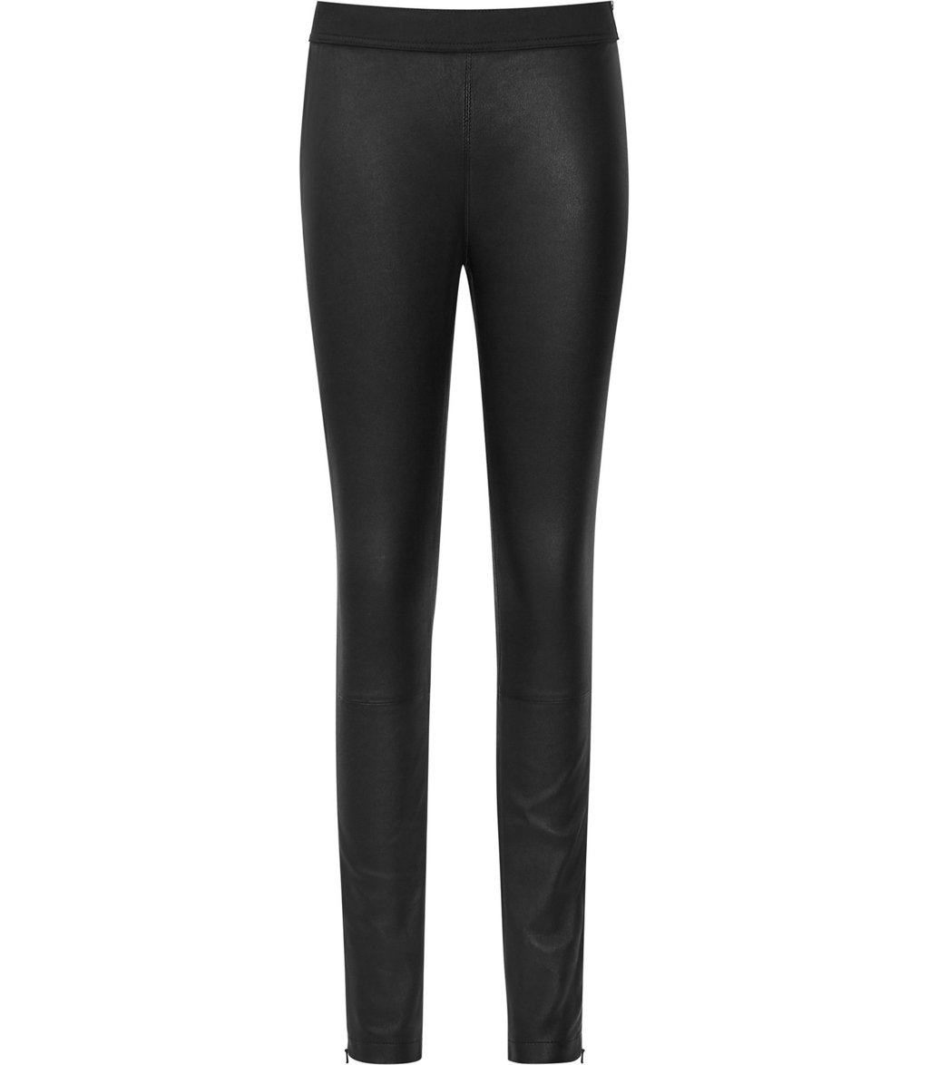 Carrie Womens Leather Leggings In Black - length: standard; pattern: plain; style: leggings; waist: mid/regular rise; predominant colour: black; occasions: casual, evening, creative work; fibres: leather - 100%; texture group: leather; fit: skinny/tight leg; pattern type: fabric; season: a/w 2016; wardrobe: highlight