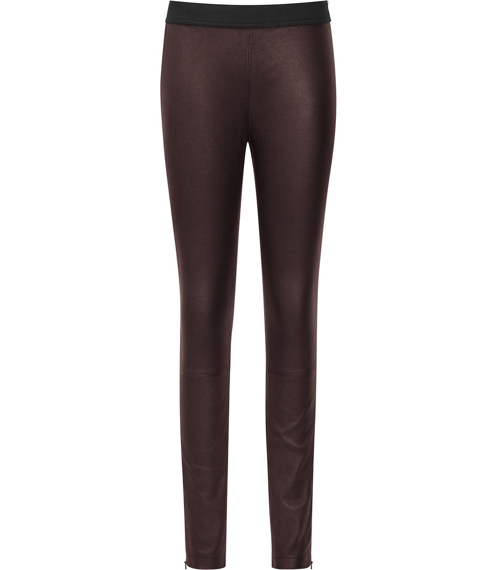 Carrie Womens Leather Leggings In Red - length: standard; pattern: plain; style: leggings; waist: mid/regular rise; predominant colour: burgundy; occasions: casual, evening, creative work; fibres: leather - 100%; texture group: leather; fit: skinny/tight leg; pattern type: fabric; season: a/w 2016; wardrobe: highlight