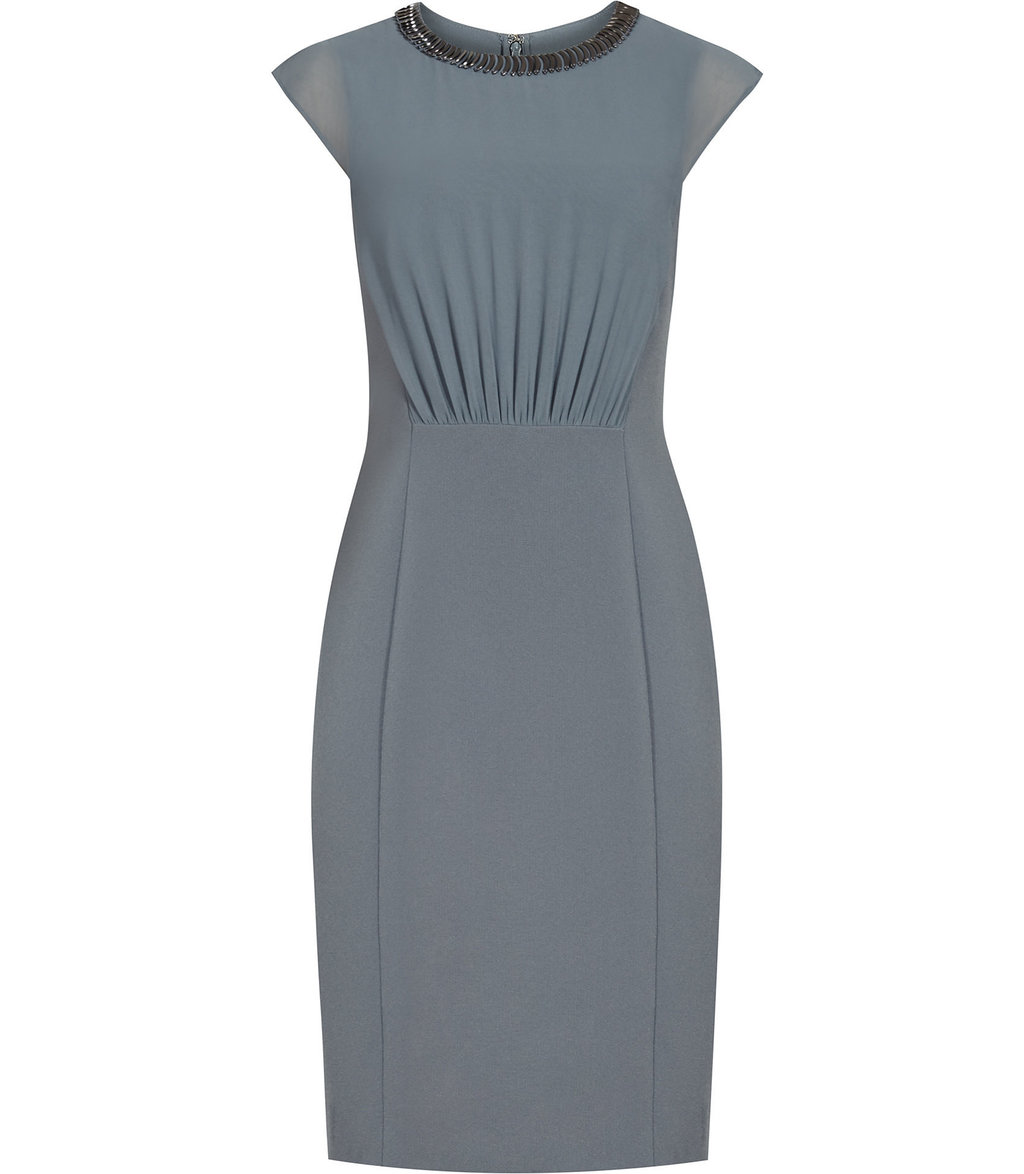 Serre Womens Embellished Neckline Dress In Green - style: shift; fit: tailored/fitted; pattern: plain; predominant colour: mid grey; occasions: evening; length: just above the knee; fibres: polyester/polyamide - 100%; neckline: crew; sleeve length: short sleeve; sleeve style: standard; pattern type: fabric; texture group: woven light midweight; season: a/w 2016; wardrobe: event