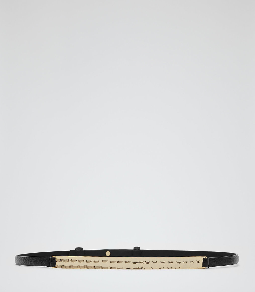 Pascalle Womens Skinny Leather Belt In Black - secondary colour: gold; predominant colour: black; occasions: casual, creative work; type of pattern: standard; style: plaque; size: skinny; worn on: hips; material: leather; pattern: plain; finish: plain; embellishment: chain/metal; season: a/w 2016