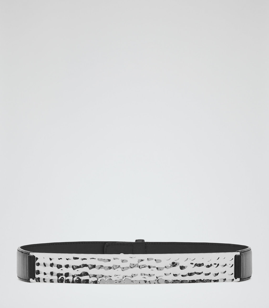 Belluci Womens Hammered Metal Belt In Grey - predominant colour: chocolate brown; secondary colour: silver; occasions: casual, creative work; type of pattern: standard; style: plaque; size: standard; worn on: waist; material: leather; pattern: plain; finish: plain; embellishment: chain/metal; season: a/w 2016