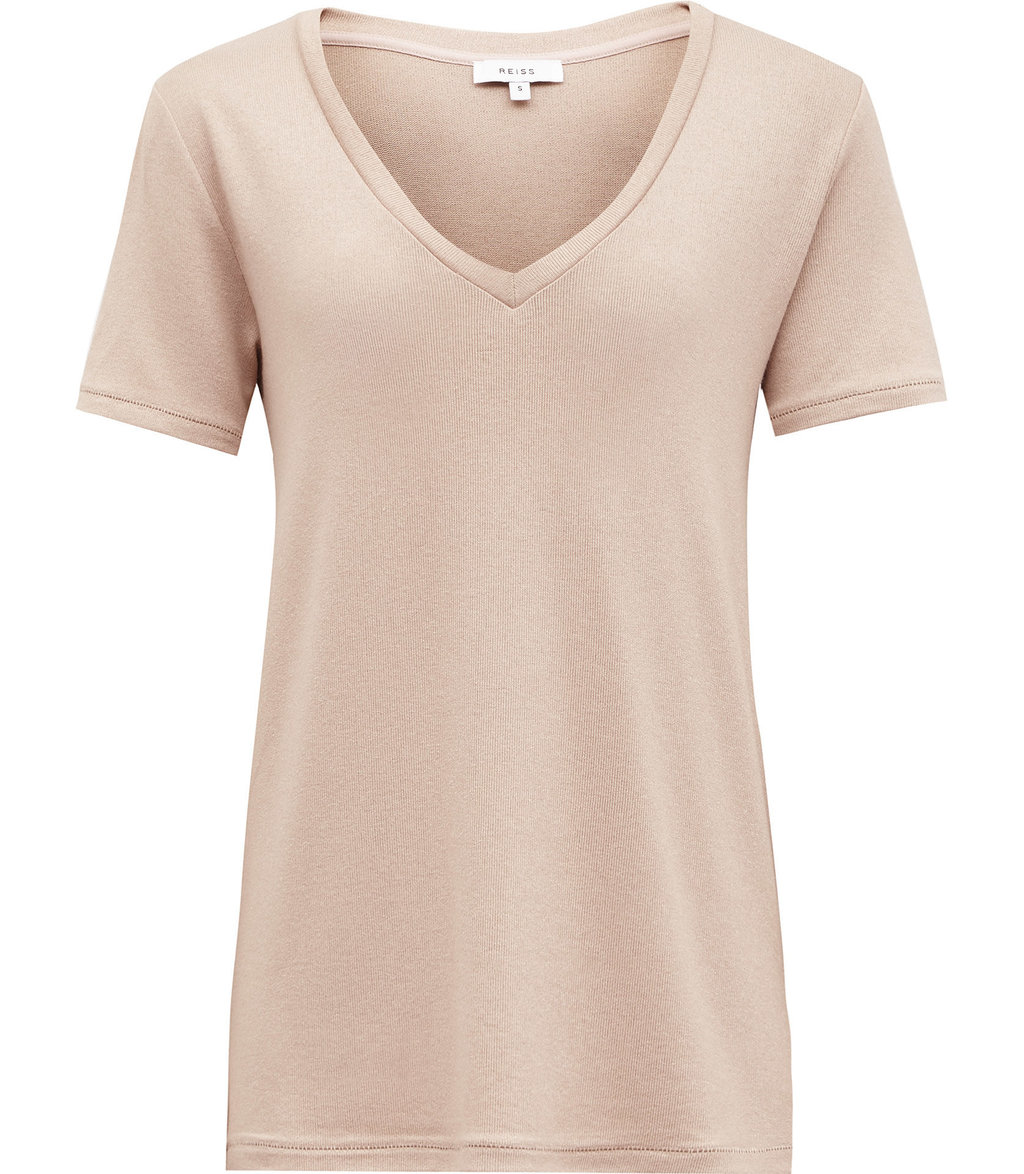 Leia Womens Metallic T Shirt In Brown - neckline: low v-neck; pattern: plain; style: t-shirt; predominant colour: nude; occasions: casual; length: standard; fibres: polyester/polyamide - stretch; fit: body skimming; sleeve length: short sleeve; sleeve style: standard; pattern type: fabric; texture group: jersey - stretchy/drapey; wardrobe: basic; season: a/w 2016