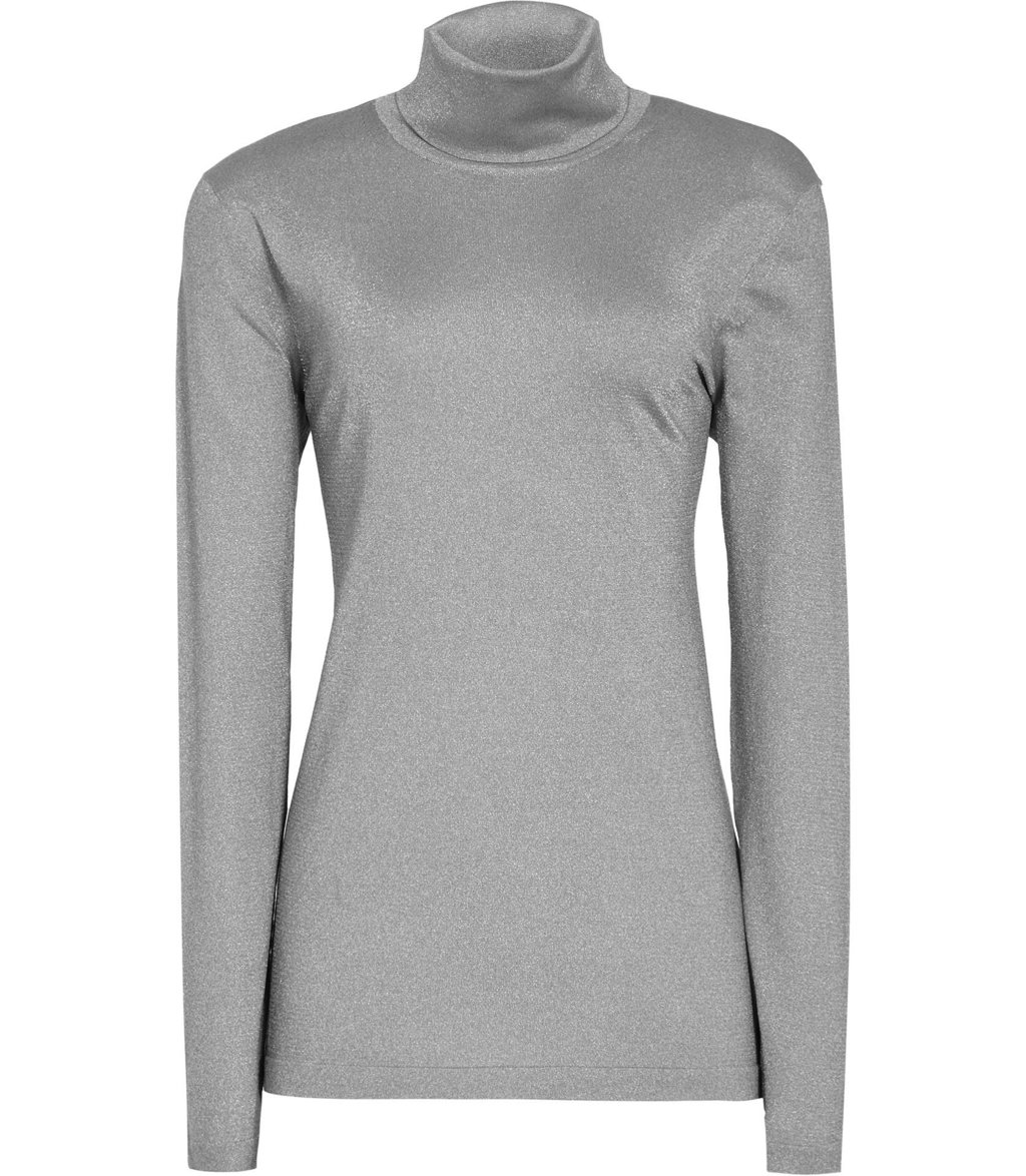 Sassy Womens Metallic Roll Neck Top In Grey - pattern: plain; neckline: roll neck; predominant colour: mid grey; occasions: casual; length: standard; style: top; fit: body skimming; sleeve length: long sleeve; sleeve style: standard; pattern type: fabric; texture group: jersey - stretchy/drapey; fibres: nylon - stretch; wardrobe: basic; season: a/w 2016