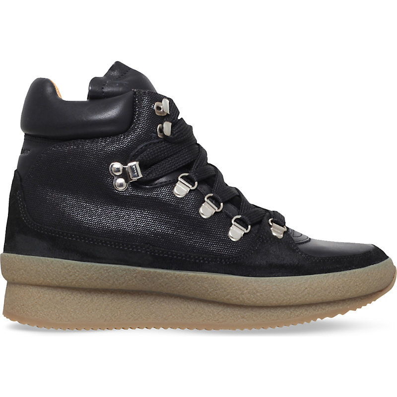 Brent Suede Wedge Trainers, Women's, Eur 36 / 3 Uk Women, Black - predominant colour: black; occasions: casual; material: leather; heel height: flat; heel: wedge; toe: round toe; boot length: ankle boot; style: standard; finish: plain; pattern: colourblock; shoe detail: moulded soul; season: a/w 2016