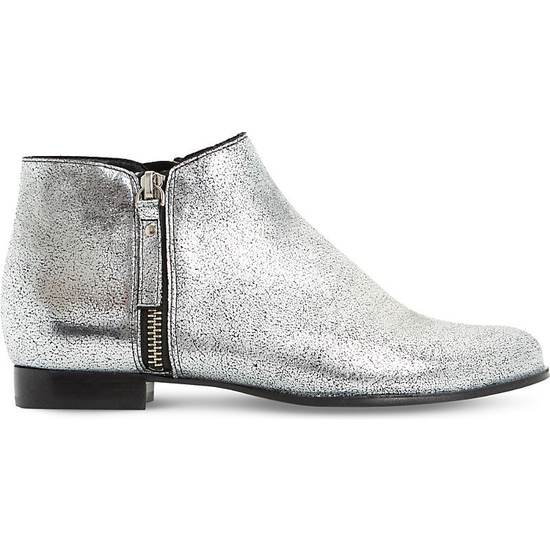 Pander Cracked Metallic Leather Ankle Boots, Women's, Eur 37 / 4 Uk Women, Silver Metallic - predominant colour: silver; occasions: casual; material: leather; heel height: flat; heel: block; toe: round toe; boot length: ankle boot; style: standard; finish: metallic; pattern: plain; season: a/w 2016