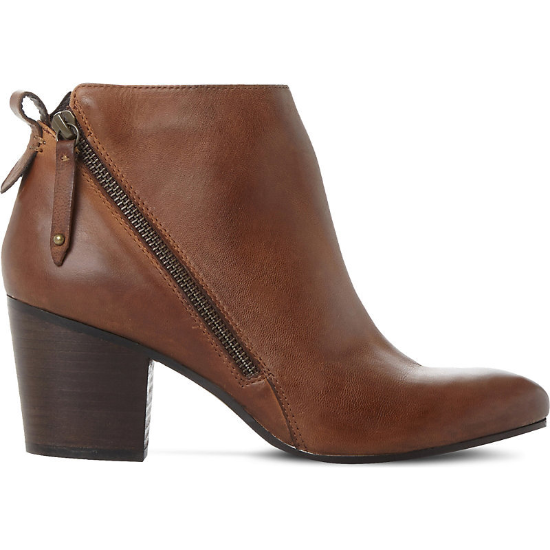 Jaydun Leather Ankle Boots, Women's, Eur 41 / 8 Uk Women, Tan/Brown - predominant colour: chocolate brown; occasions: casual; material: leather; heel height: high; heel: block; toe: round toe; boot length: ankle boot; style: standard; finish: plain; pattern: plain; season: a/w 2016; wardrobe: highlight