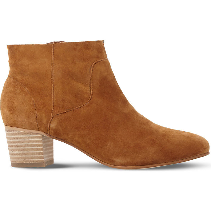 Allday Suede Western Ankle Boots, Women's, Eur 37 / 4 Uk Women, Tan Suede - predominant colour: camel; occasions: casual; material: suede; heel height: mid; heel: block; toe: round toe; boot length: ankle boot; style: standard; finish: plain; pattern: plain; wardrobe: basic; season: a/w 2016