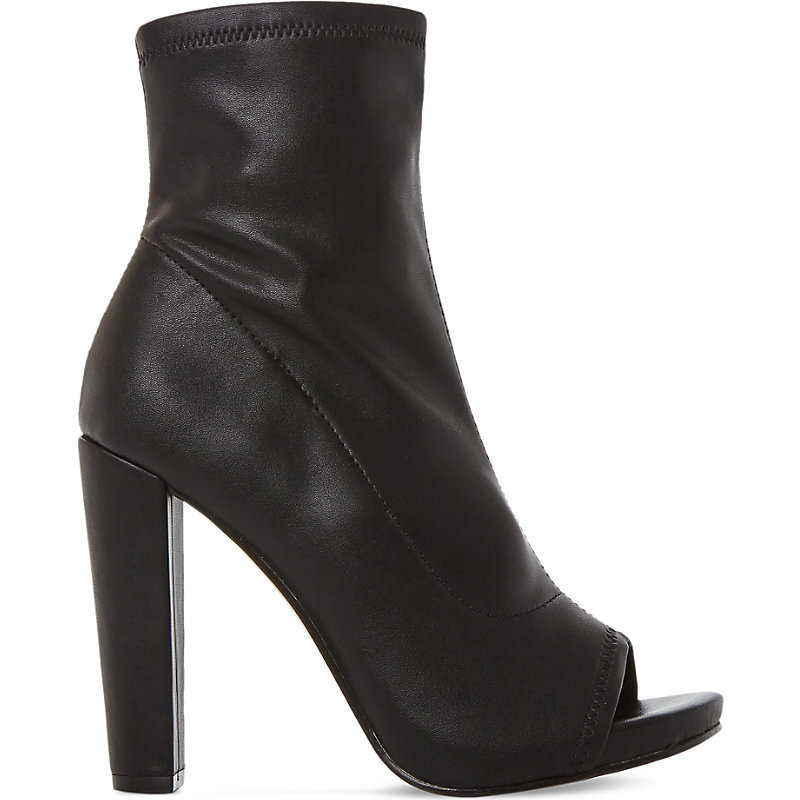 Especial Leather Peep Toe Ankle Boots, Women's, Eur 40 / 7 Uk Women, Black Synthetic - predominant colour: black; occasions: casual; material: leather; heel: block; toe: open toe/peeptoe; boot length: ankle boot; style: standard; finish: plain; pattern: plain; heel height: very high; season: a/w 2016; wardrobe: highlight