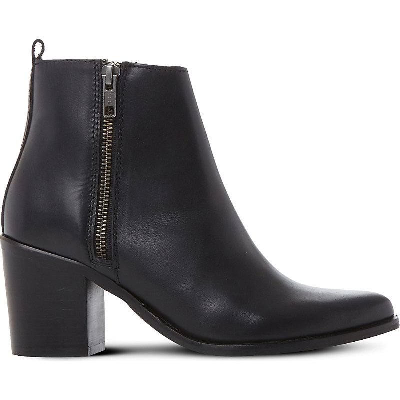 Porta Leather Ankle Boots, Women's, Eur 37 / 4 Uk Women, Black Leather - predominant colour: black; occasions: casual; material: leather; heel height: mid; heel: block; toe: round toe; boot length: ankle boot; style: standard; finish: plain; pattern: plain; wardrobe: basic; season: a/w 2016