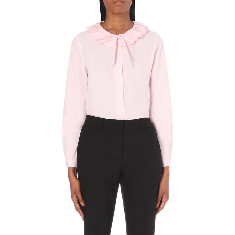 Choupie Cotton Shirt, Women's, Pink/Red/Lightpink - pattern: plain; style: shirt; neckline: pussy bow; predominant colour: blush; occasions: casual, evening, creative work; length: standard; fibres: cotton - 100%; fit: body skimming; sleeve length: long sleeve; sleeve style: standard; texture group: cotton feel fabrics; bust detail: bulky details at bust; pattern type: fabric; season: a/w 2016; wardrobe: highlight