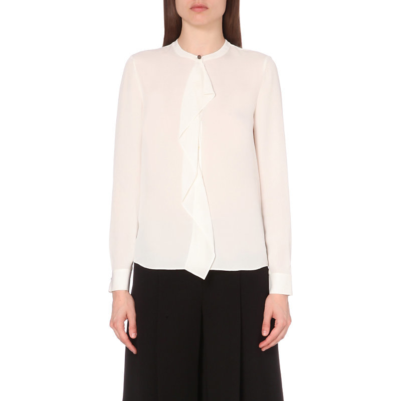 Adelaide Silk Top, Women's, Black/Nude - pattern: plain; style: blouse; predominant colour: ivory/cream; occasions: evening; length: standard; neckline: collarstand; fibres: silk - 100%; fit: body skimming; sleeve length: long sleeve; sleeve style: standard; texture group: silky - light; bust detail: bulky details at bust; pattern type: fabric; season: a/w 2016; wardrobe: event