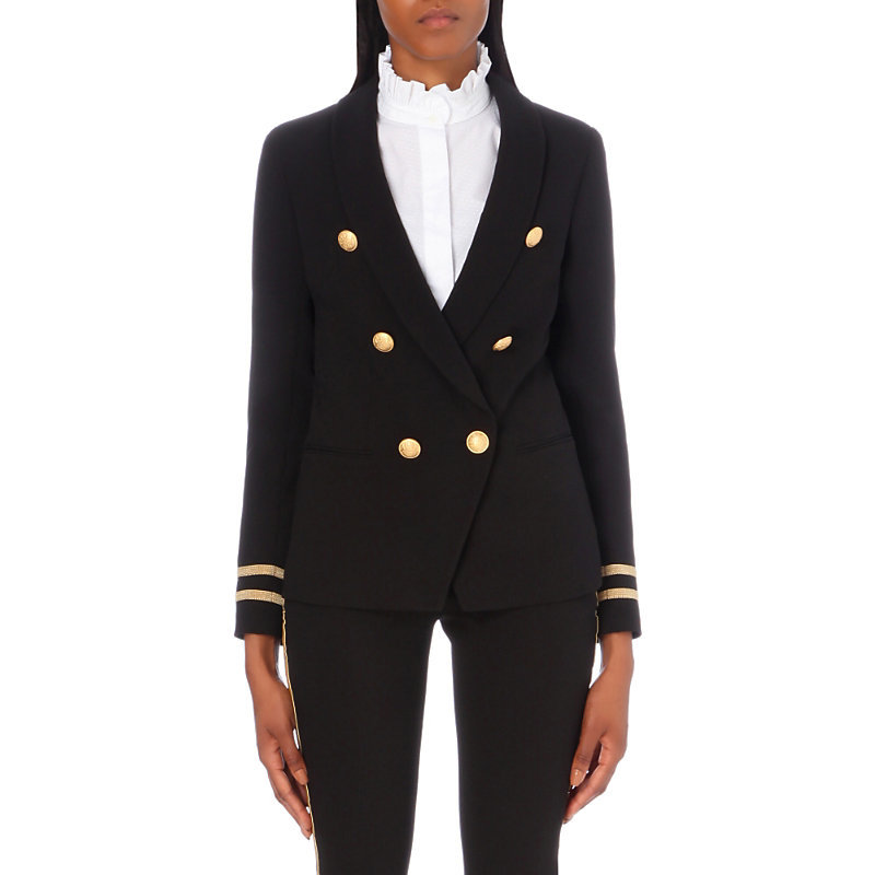 Vendome Crepe Jacket, Women's, Noir - pattern: plain; style: double breasted blazer; collar: shawl/waterfall; secondary colour: gold; predominant colour: black; occasions: evening; length: standard; fit: tailored/fitted; fibres: polyester/polyamide - 100%; sleeve length: long sleeve; sleeve style: standard; collar break: low/open; pattern type: fabric; texture group: woven light midweight; season: a/w 2016; wardrobe: event