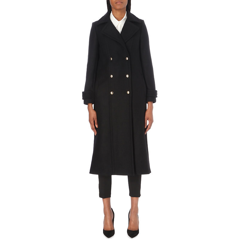 Greta Woool Blend Coat, Women's, Noir - pattern: plain; style: double breasted; collar: standard lapel/rever collar; length: calf length; predominant colour: black; occasions: casual, creative work; fit: straight cut (boxy); fibres: viscose/rayon - 100%; sleeve length: long sleeve; sleeve style: standard; collar break: medium; pattern type: fabric; texture group: woven bulky/heavy; wardrobe: basic; season: a/w 2016
