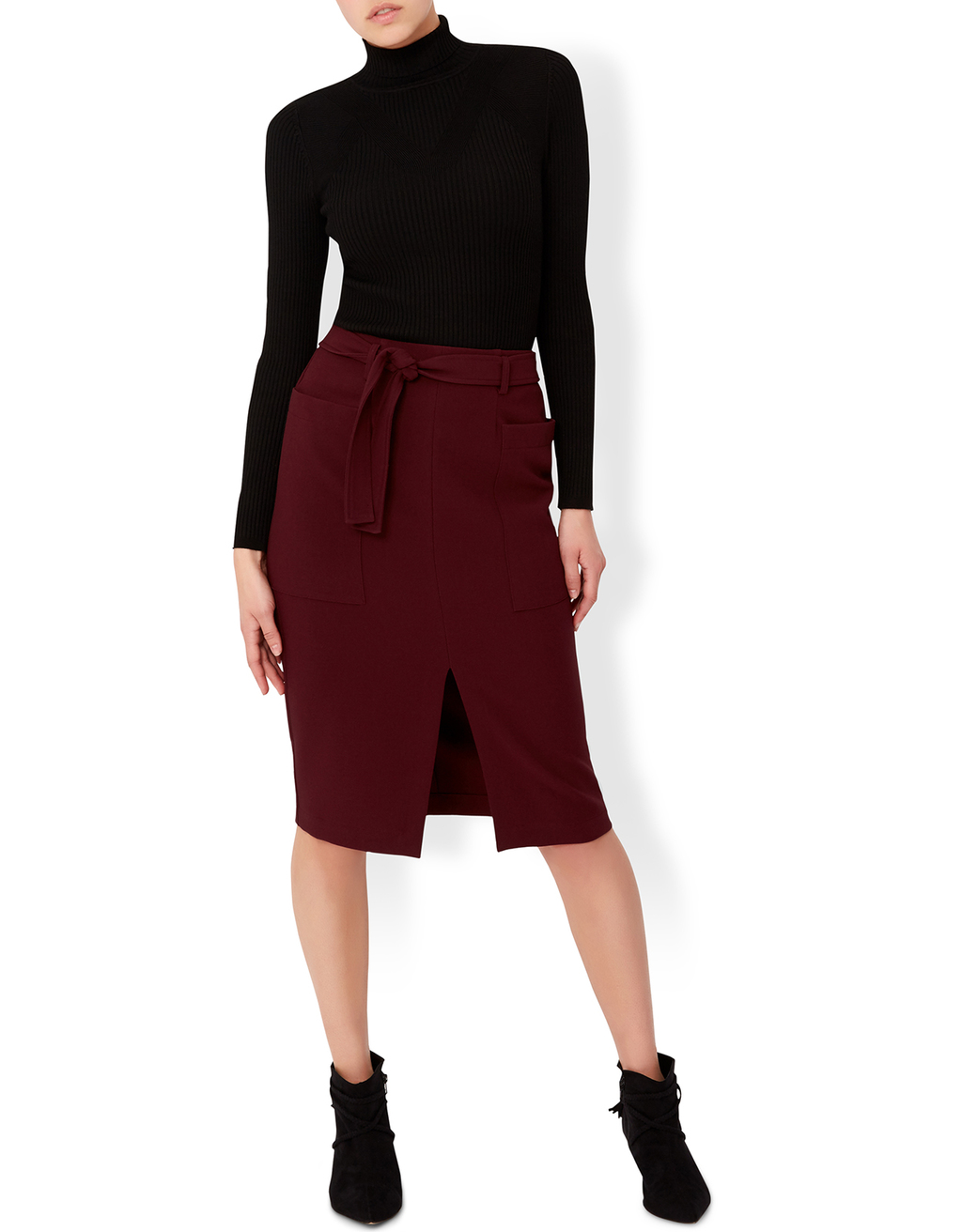 Eliza Skirt - length: below the knee; pattern: plain; style: pencil; fit: tailored/fitted; waist detail: belted waist/tie at waist/drawstring; waist: mid/regular rise; predominant colour: burgundy; occasions: evening; fibres: polyester/polyamide - stretch; texture group: crepes; pattern type: fabric; season: a/w 2016; wardrobe: event