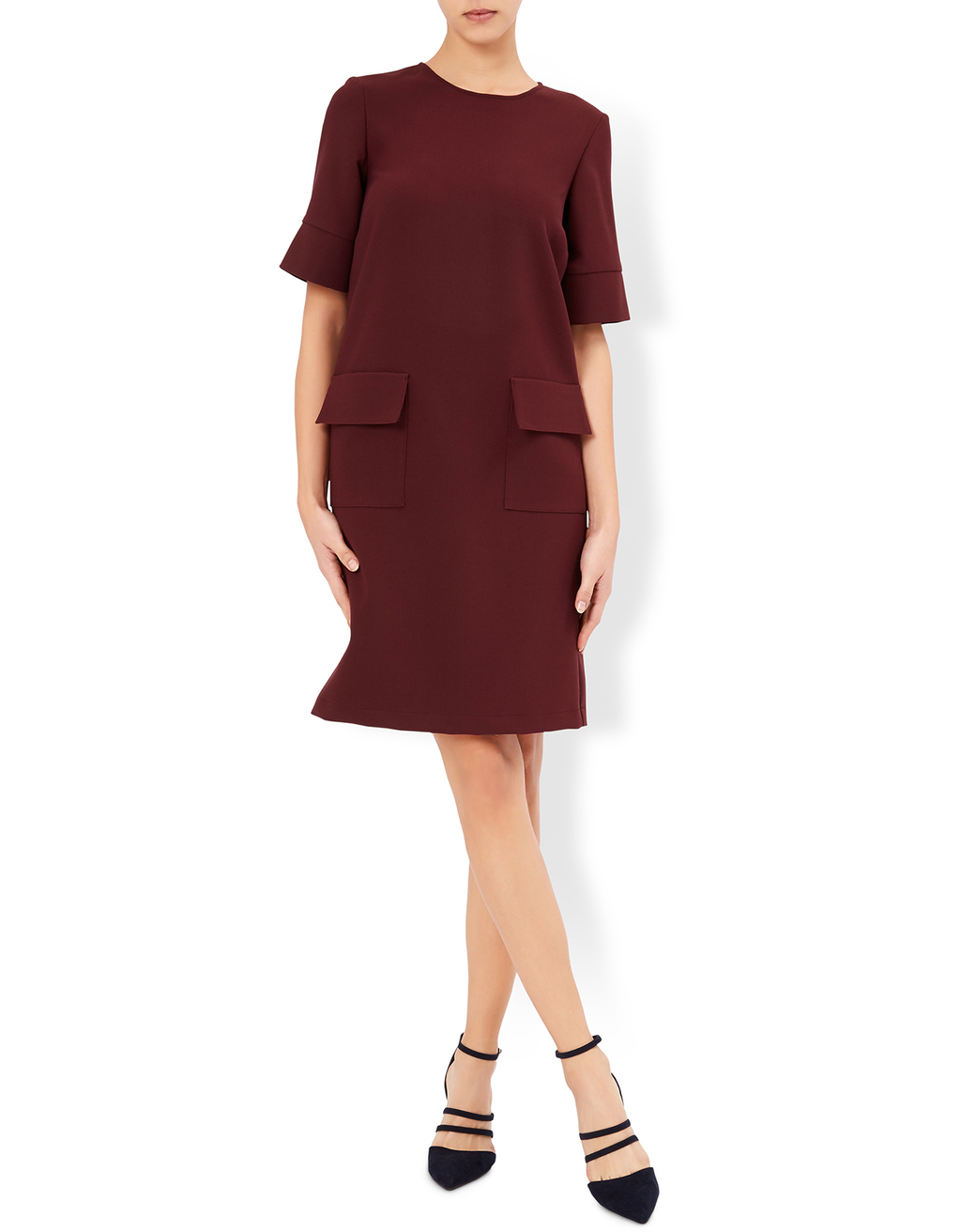 Eliza Burgundy Dress - style: shift; pattern: plain; predominant colour: burgundy; occasions: evening; length: on the knee; fit: straight cut; fibres: polyester/polyamide - stretch; neckline: crew; hip detail: subtle/flattering hip detail; sleeve length: short sleeve; sleeve style: standard; pattern type: fabric; pattern size: standard; texture group: woven light midweight; season: a/w 2016; wardrobe: event